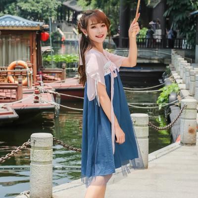 中国风改良汉服绣花连衣裙夏季日常汉元素高腰双层齐胸襦裙女7621