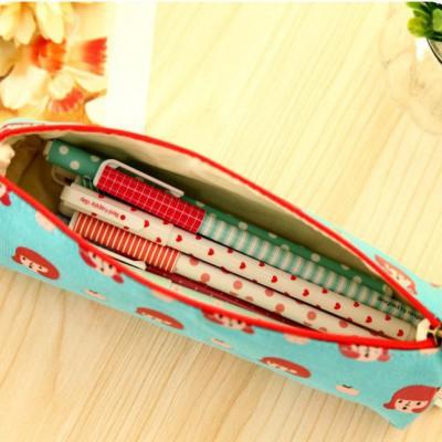 0415韩国学习文具可爱创意卡通小苹果笔袋学习用品杂物收纳袋