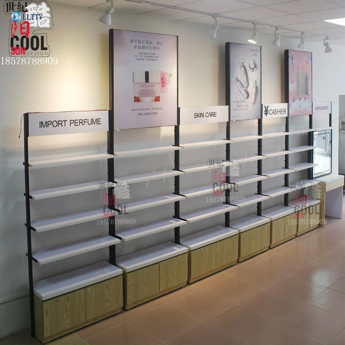 化妆品货柜展示柜 化妆品货架图片及价格 化妆品展柜店面装修图片